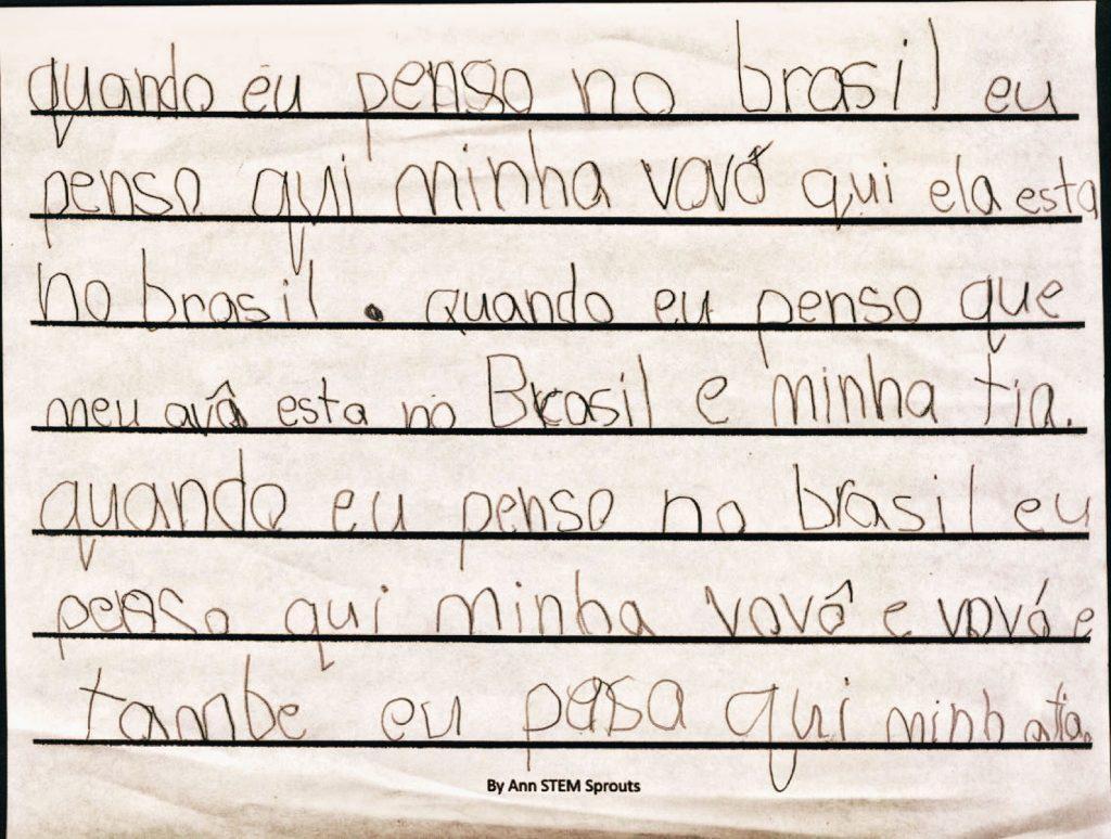 Niña inmigrante quién vive lejos de su familia en Brasil. Texto y reflexión sobre a quién extraña, edad 6 años.