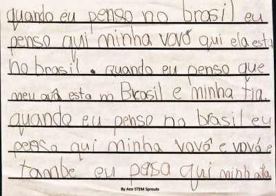 An immigrant girl who is living far from her family in Brazil. Text and reflection on the people she misses. Aged 6.