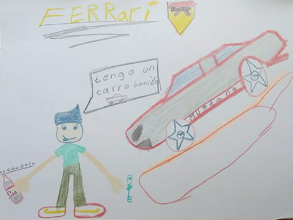 En los muchos dibujos que hizo, Kevin me regaló con ese que decía lo que iba a encontrar en EEUU. Dibujo Kevin en EEUU Kevin, 10 años, de El Salvador (Hermosillo, Sonora, México, 2018)