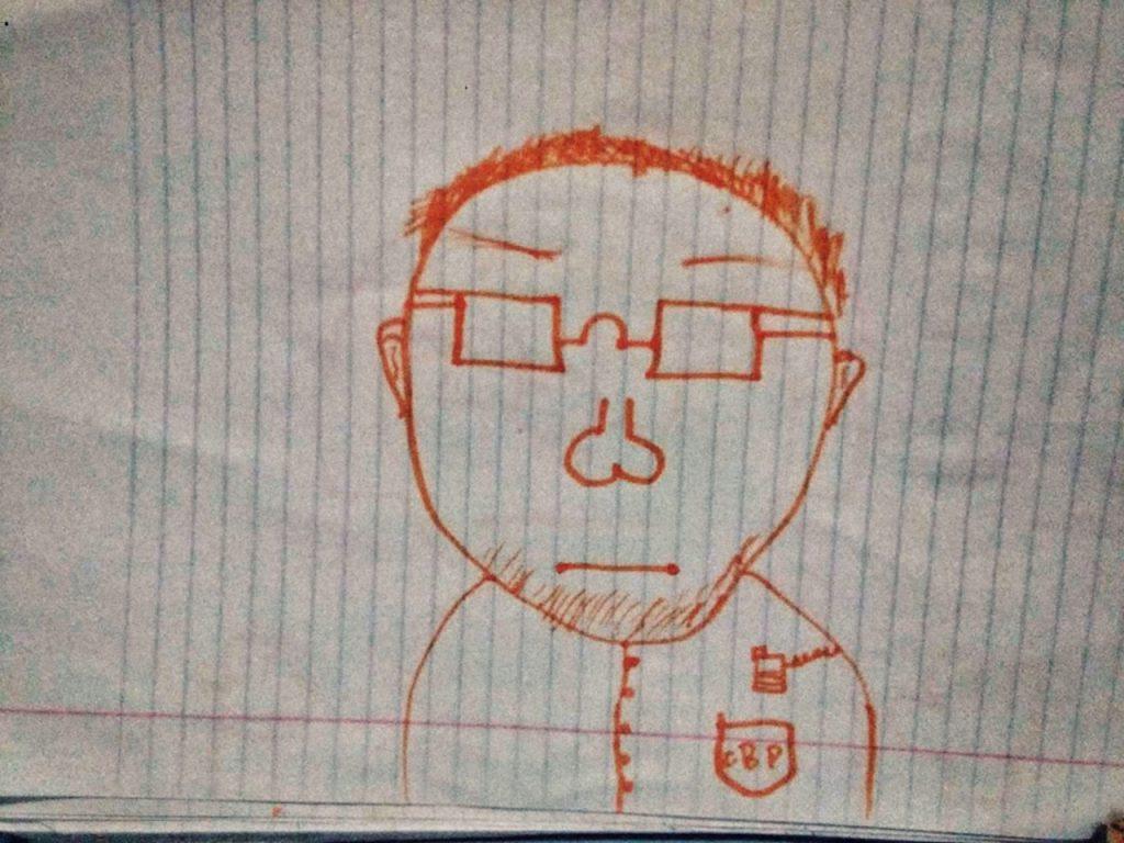 """Después de pasar algunos días de frío y hambre en el ICE, Kevin no quería hablar de cómo le fue, apenas dibujó y me envío la foto del """"malo de la patrulla"""". Kevin, 10 años, de El Salvador (primera parada en EEUU, 2018)"""