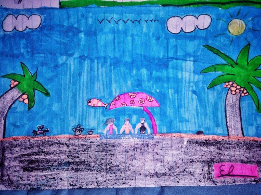 """Así que llegó, Kevin encontró a una ciudad muy fría del invierno estadunidense, lo que deseaba era conocer a una playa con sol dónde podríamos jugar. """"Por días de sol en la playa"""". Kevin, 10 años, de El Salvador (primera parada en EEUU, 2018)"""