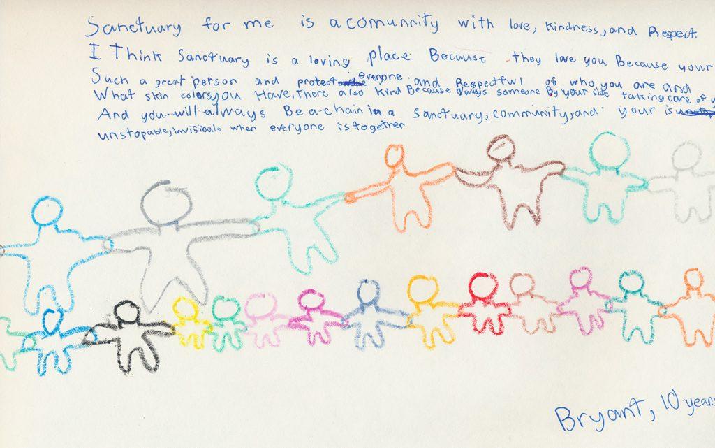 Dibujo y texto de Bryant Moya, de 10 años sobre su experiencia viviendo en santuario en Colorado con su familia. Febrero de 2019.