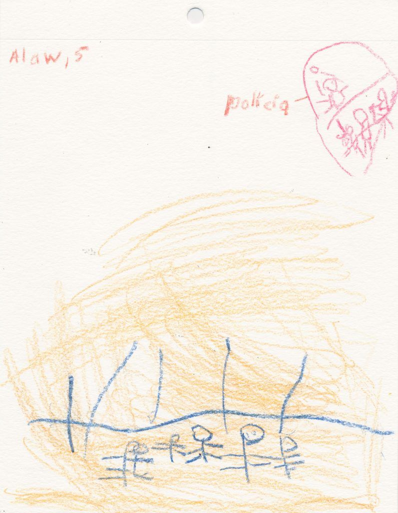 Drawing by Alan on his detention experience and being separated from his mother for three months. New York City, 2019.