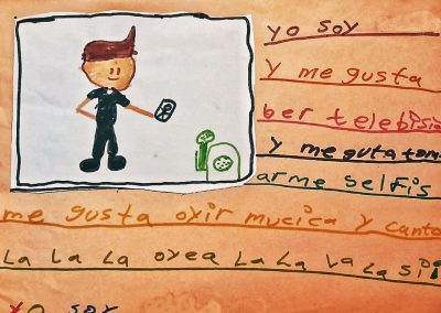 """Drawing by Kevin Introducing Himself to Me. """"I'm Kevin."""" Kevin, 10, from El Salvador (Hermosillo, Sonora, Mexico, 2018)"""