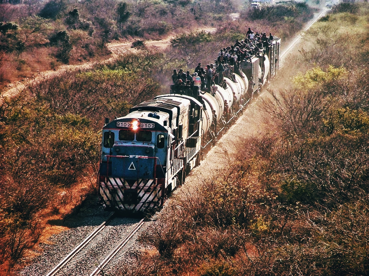"""Children and adolescents usually ride on the Mexican freight train known as """"The Beast"""" to head north. On the train, they can be victims of raids or extortion, and many experience falls that seriously injure them, including life-threatening injuries  (""""Hermanos en el Camino"""" Shelter Collection, Oaxaca, México.)"""